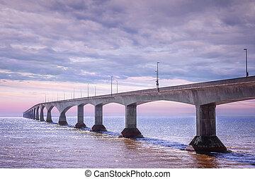 canadá, puente, ocaso, confederación, pei