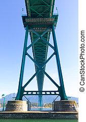 canadá, puente, -, verde, vancouver, metalic, leones, puerta