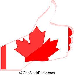canadá, pulgar, nacional, arriba, mano, bandera, gesto, ...