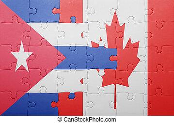 canadá, quebra-cabeça, bandeira, nacional, cuba