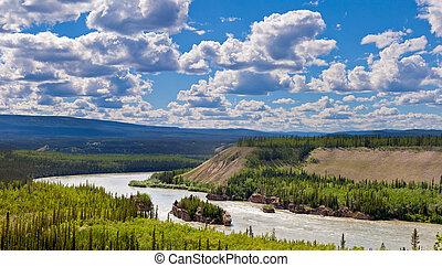canadá, rapids, cinco, dedo, paisaje de río, yukon