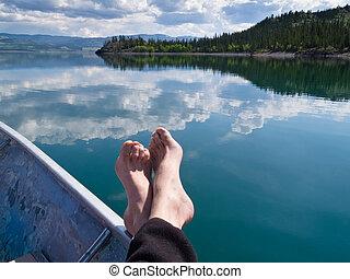 canadá, relaxante, lago, território, laberge, yukon