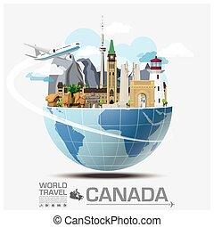 canadá, señal, viajar mundial, y, viaje, infographic