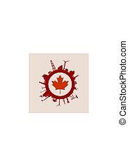 canadá, silhouettes., indústria, relativo, bandeira, círculo