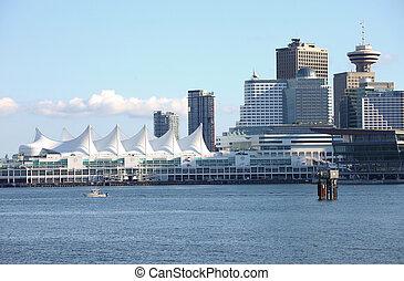 canadá, skyline, &, bc, vancouver, lugar, canada.