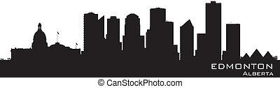 canadá, skyline., detalhado, edmonton, silueta