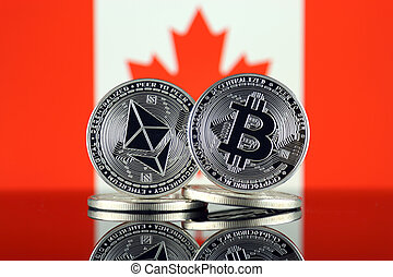 canadá, termos, flag., (btc), bitcoin, cryptocurrencies, 2, versão, (eth), maior, capitalization., físico, mercado, ethereum