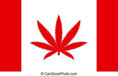 canadá, uso, conceito, folha, permissão, país, marijuana, marijuana, bandeira, médico
