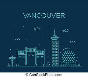 canadá, vector, estilo, perfil de ciudad, lineal, vancouver