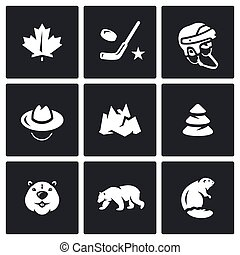 canadá, vetorial, jogo, ícones