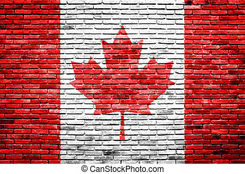 canadá viejo, pared pintada, bandera, ladrillo