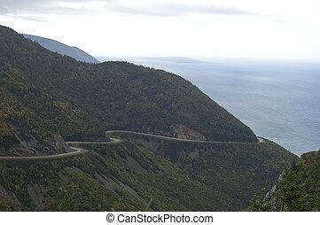 canadá, vista, tierras altas, scotia, (road), rastro, ...