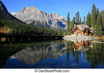 canadá, yoho, casa madeira, parque nacional, lago, esmeralda