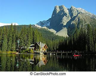 canadá, yoho, monte, parque, lago, burgess, esmeralda,...