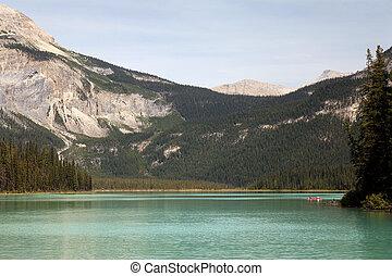 canadá, yoho, nacional, kayaking, parque, lago, esmeralda