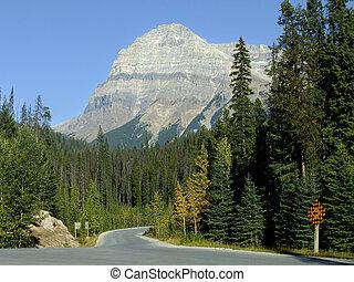 canadá, yoho, panorâmico, nacional, esmeralda, parque, lago, guiando, estrada