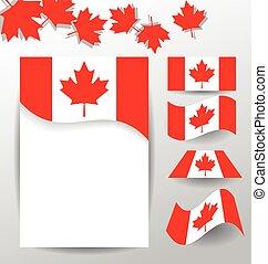 canada, éléments, national, conception, drapeaux, jour
