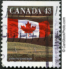 CANADA - 1992: shows Canadian flag and Prairie - CANADA -...