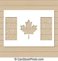 canada, aftekenmal, achtergrond, houten, vlag, mal