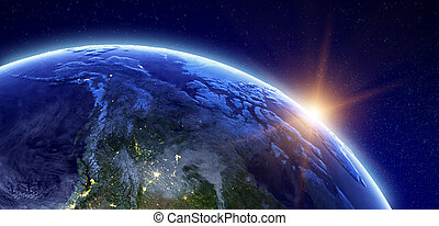 Canada and Arctic. Elements of this image furnished by NASA