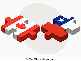 Canada and Chile Flags in puzzle isolated on white...
