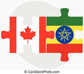 Canada and Ethiopia Flags in puzzle isolated on white background