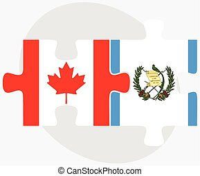 Canada and Guatemala Flags in puzzle isolated on white...