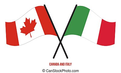Canada and Italy Flags Crossed And Waving Flat Style. Official Proportion. Correct Colors