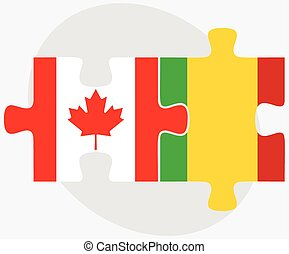 Canada and Mali Flags in puzzle isolated on white background