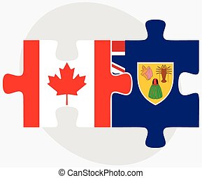 Canada and Turks and Caicos Islands Flags in puzzle isolated...