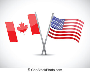 canada and us partnership concept illustration design over...