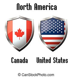 Canada and USA flag icons theme