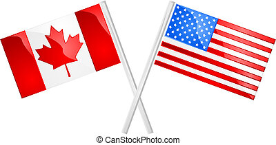 Glossy illustration of the Canadian and American flags crossed over each other