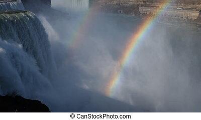 canada, arc-en-ciel, usa, double, chutes du niagara