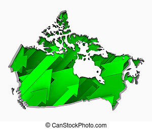 Canada Arrows Map Growth Increase On Rise 3d Illustration