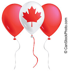 Canada balloons - Red and white balloons with the Canadian ...