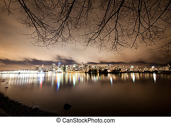 canada, bc, centro, orizzonte, vancouver, notte