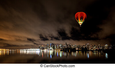canada, bc, downtown, skyline, vancouver, nacht