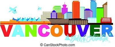 canada, bc, kleur, tekst, illustratie, skyline, vancouver