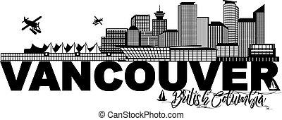 canada, bc, tekst, illustratie, skyline, black , vancouver, ...
