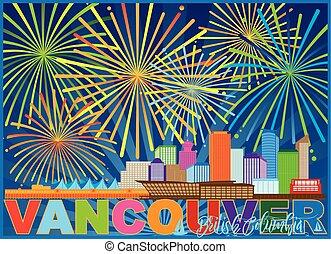 canada, bc, vuurwerk, illustratie, skyline, vancouver