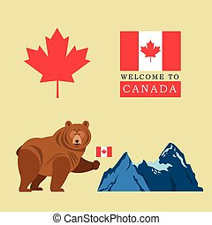 canada, berg, blad, flag., bier, ontwerp, icon., spotprent, esdoorn