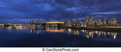 canada, blauwe , vals, kreek, uur, bc, skyline, vancouver