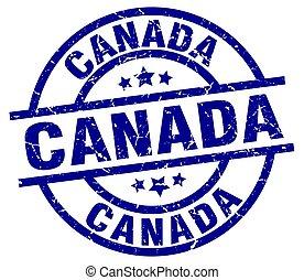 Canada blue round grunge stamp