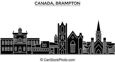 canada, brampton, architettura, vettore, skyline città,...