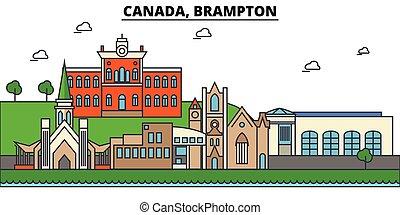 canada, brampton., skyline città, architettura, costruzioni,...