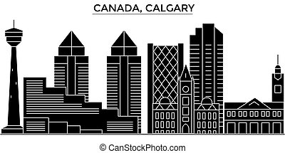 Canada, Calgary architecture vector city skyline, travel cityscape with landmarks, buildings, isolated sights on background