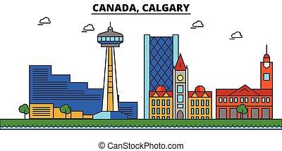 Canada, Calgary. City skyline architecture, buildings,...