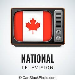 canada, canadese, tv, vendemmia, simbolo, bandiera, bottone, nazionale, television.