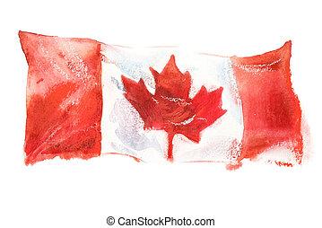 Canada, canadian flag. Hand drawn watercolor illustration
